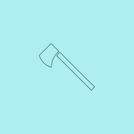 tomahawk: Tomahawk. Simple outline flat vector icon isolated on blue background Illustration
