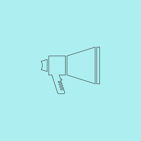 amplified: Megaphone. Simple outline flat vector icon isolated on blue background Illustration