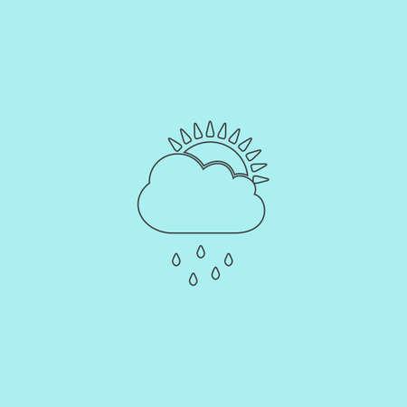 the rainy season: Rainy season. Simple outline flat vector icon isolated on blue background