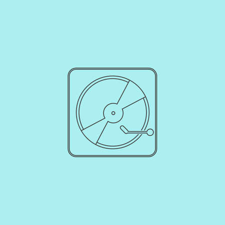lever arm: Vinyl record player. Simple outline flat vector icon isolated on blue background Illustration