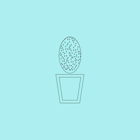 aloe vera plant: Cactus pot. Simple outline flat vector icon isolated on blue background