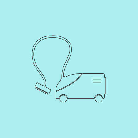 hoover: Vacuum cleaner. Simple outline flat vector icon isolated on blue background