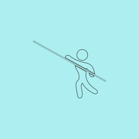 pole vault: Pole vault athlete. Simple outline flat vector icon isolated on blue background