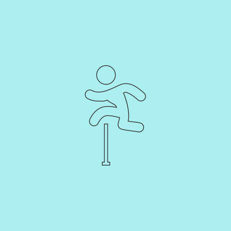 obstacles: Man figure jumping over obstacles. Simple outline flat vector icon isolated on blue background