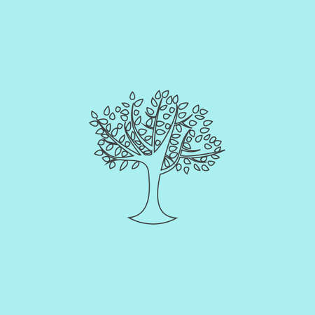 Decorative simple tree. Simple outline flat vector icon isolated on blue background
