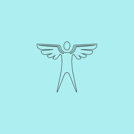 icarus: Winged man. Simple outline flat vector icon isolated on blue background