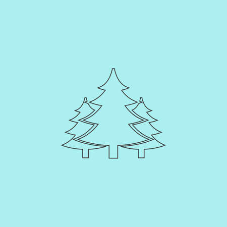 Tree, Christmas fir tree. Simple outline flat vector icon isolated on blue background