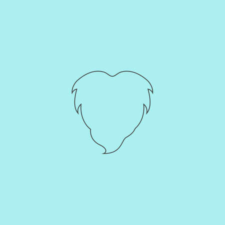 style goatee: Beard. Simple outline flat vector icon isolated on blue background