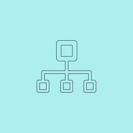 dataset: Network block diagram. Simple outline flat vector icon isolated on blue background