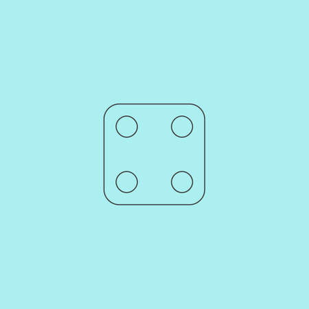 tossing: One dices - side with 4. Simple outline flat vector icon isolated on blue background Illustration