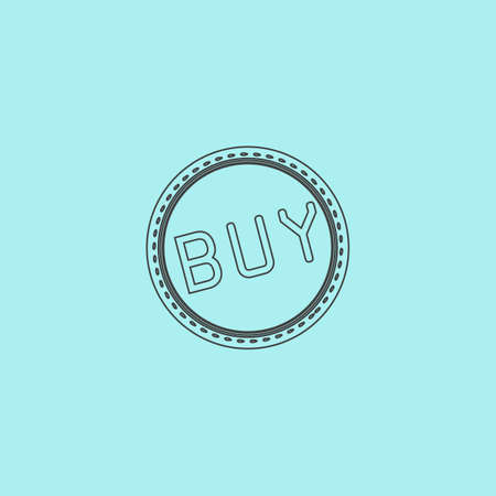 price uncertainty: Buy Badge, Label or Sticker. Simple outline flat vector icon isolated on blue background