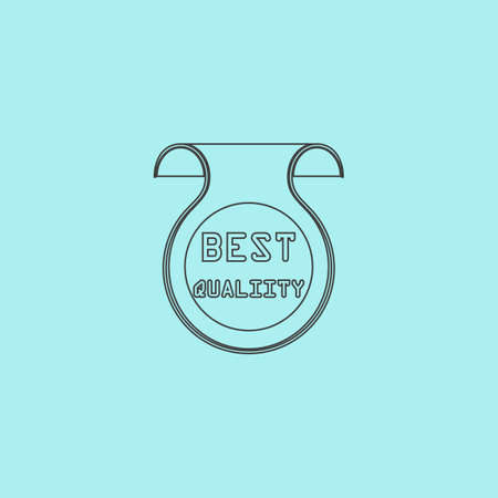 price uncertainty: Best Quality Badge, Label or Sticker. Simple outline flat vector icon isolated on blue background Illustration