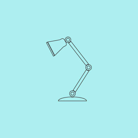 lamplight: Reading-lamp. Simple outline flat vector icon isolated on blue background Illustration