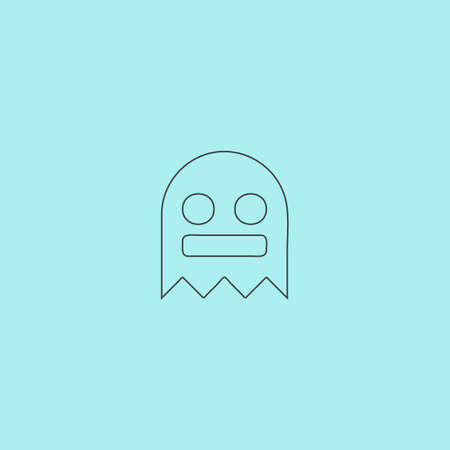 cute ghost: Kawaii cute ghost. Simple outline flat vector icon isolated on blue background