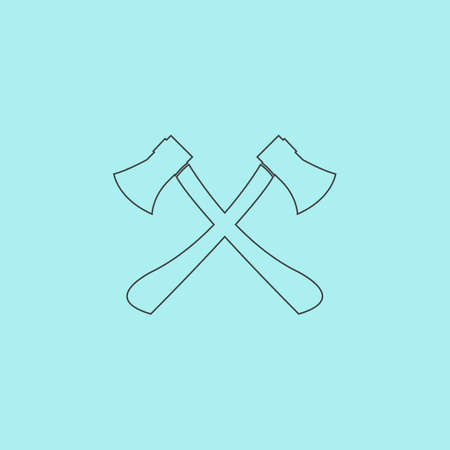 axes: Two axes with wooden handles. Simple outline flat vector icon isolated on blue background