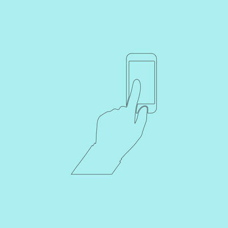 clicking: Smartphone, finger clicking. Simple outline flat vector icon isolated on blue background Illustration