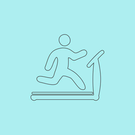 stamina: Running, treadmill. Simple outline flat vector icon isolated on blue background