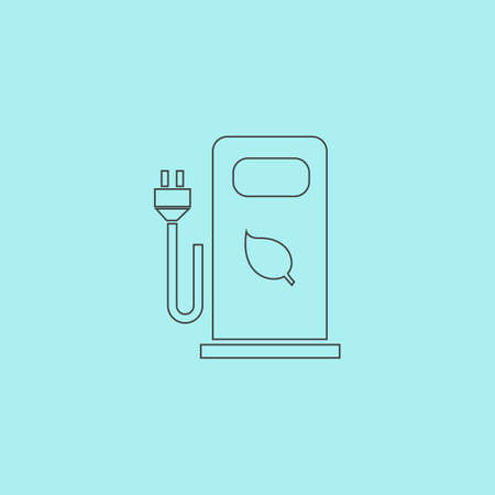 bio fuel: Electric car charging station or Bio fuel petrol. Simple outline flat vector icon isolated on blue background Illustration