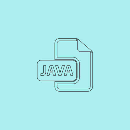 java: JAVA development file format. Simple outline flat vector icon isolated on blue background