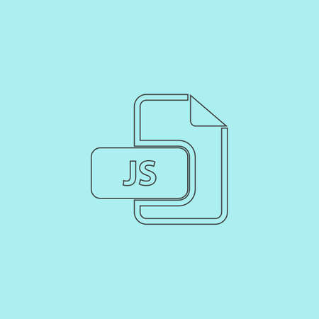 file extension: JS file extension. Simple outline flat vector icon isolated on blue background