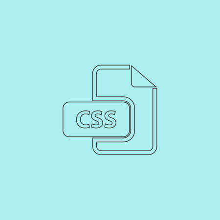 css: Css file extension. Simple outline flat vector icon isolated on blue background Illustration