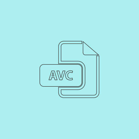 mov: AVC file. Simple outline flat vector icon isolated on blue background Illustration