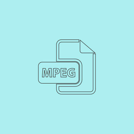 mov: MPEG video file extension. Simple outline flat vector icon isolated on blue background