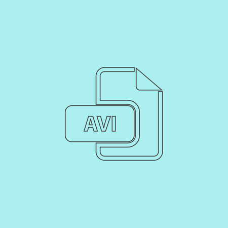 file extension: AVI video file extension. Simple outline flat vector icon isolated on blue background