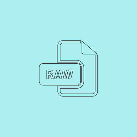 file extension: RAW image file extension. Simple outline flat vector icon isolated on blue background