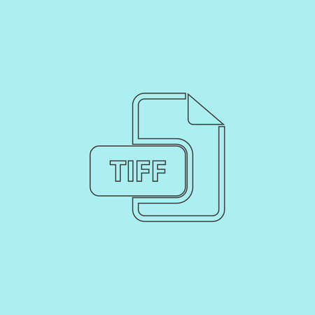 file extension: TIFF image file extension. Simple outline flat vector icon isolated on blue background
