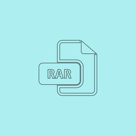 rar: RAR file format. Simple outline flat vector icon isolated on blue background