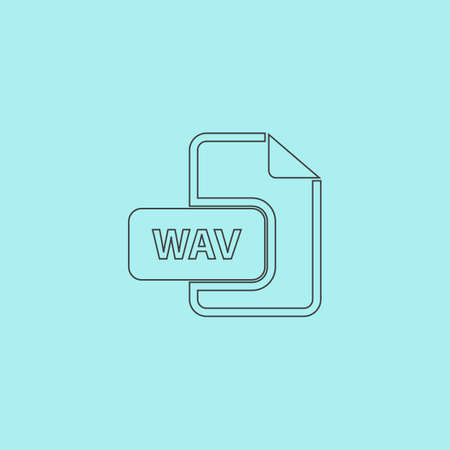 wav: WAV audio file extension. Simple outline flat vector icon isolated on blue background