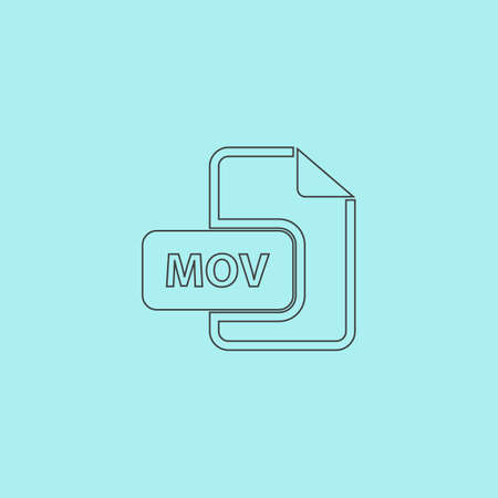 mov: MOV video file extension. Simple outline flat vector icon isolated on blue background Illustration