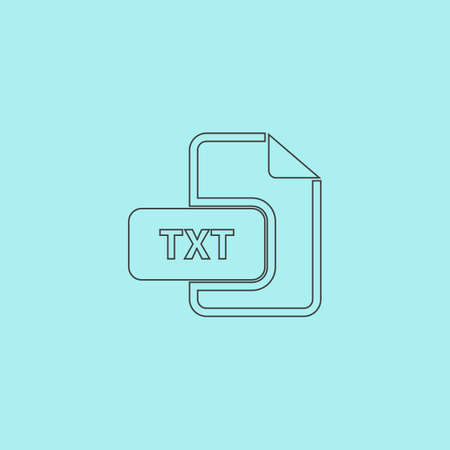 txt: TXT text file extension. Simple outline flat vector icon isolated on blue background Vettoriali