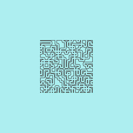 labirinth: Labyrinth Puzzle rebus. Simple outline flat vector icon isolated on blue background