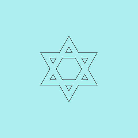 hannukah: Star of David. Simple outline flat vector icon isolated on blue background
