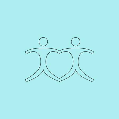 Connecting people as a heart - pair. Simple outline flat vector icon isolated on blue background