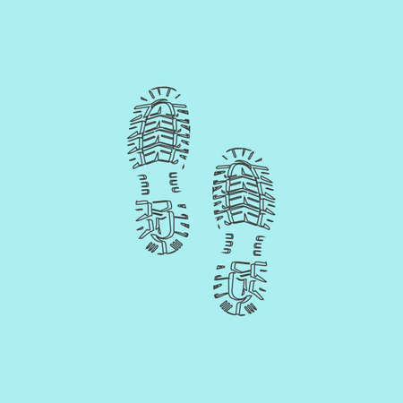 imprints: Clean shoe imprints. Simple outline flat vector icon isolated on blue background