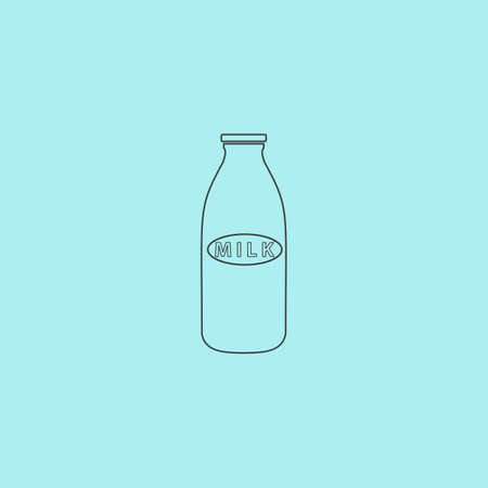 low cal: Milk bottle. Simple outline flat vector icon isolated on blue background Illustration
