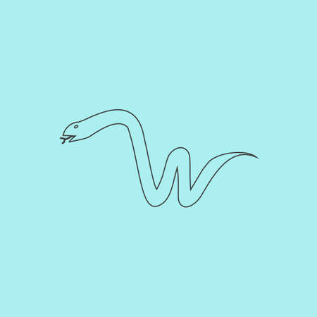 slither: Snake. Simple outline flat vector icon isolated on blue background Illustration