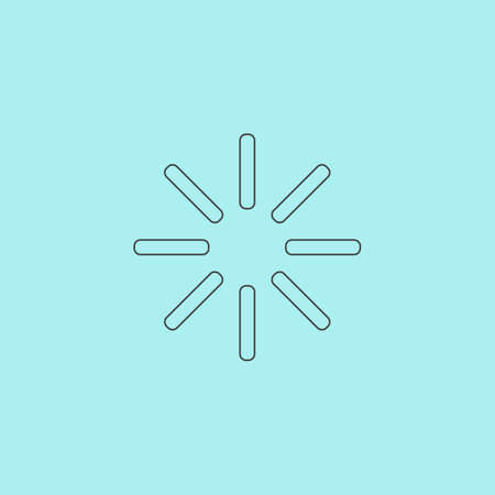 Waiting, Streaming, Buffering, Play, Go. please wait.... Simple outline flat vector icon isolated on blue background Illustration