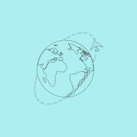 return trip: Air travel destination. Simple outline flat vector icon isolated on blue background Illustration