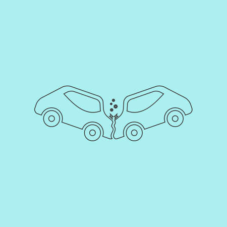 car crash: Car crash and accidents. Simple outline flat vector icon isolated on blue background Stock Illustratie