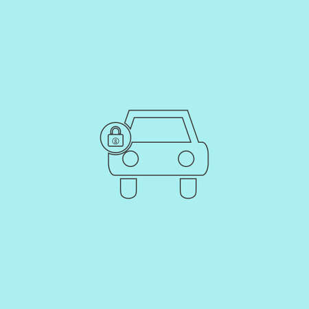 remote lock: Car lock. Simple outline flat vector icon isolated on blue background