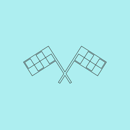 two crossed checkered flags: Racing flag. Simple outline flat vector icon isolated on blue background