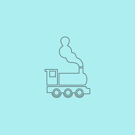 the locomotive isolated: Train - classic locomotive. Simple outline flat vector icon isolated on blue background Illustration