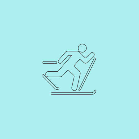x games: Skiing. Simple outline flat vector icon isolated on blue background