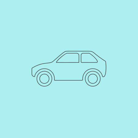 vector image: Hatchback Car. Simple outline flat vector icon isolated on blue background