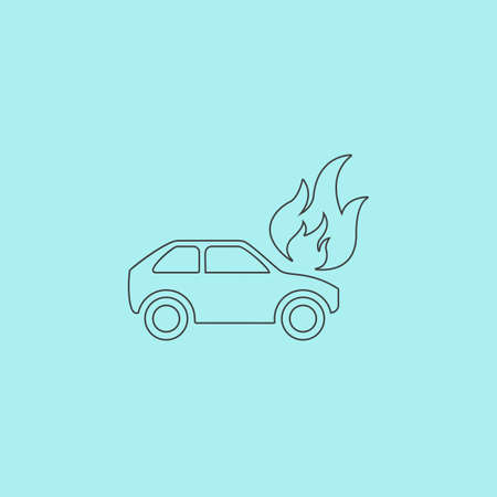 inundation: Car fire. Simple outline flat vector icon isolated on blue background Illustration