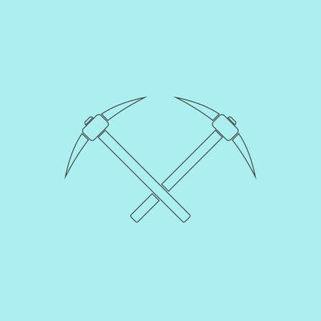 pick ax: Crossed powered icebreaker. Simple outline flat vector icon isolated on blue background Illustration